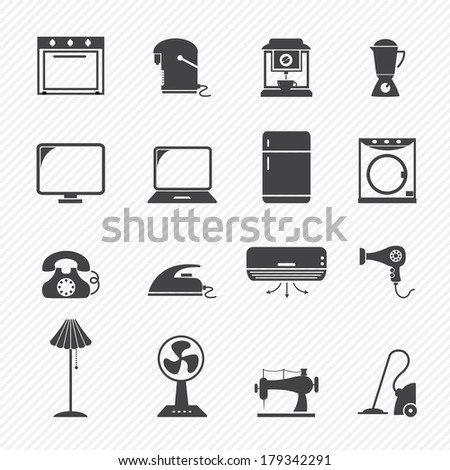 electronic home icons - stock vector