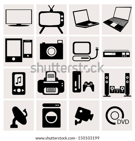Electronic icons with White Background