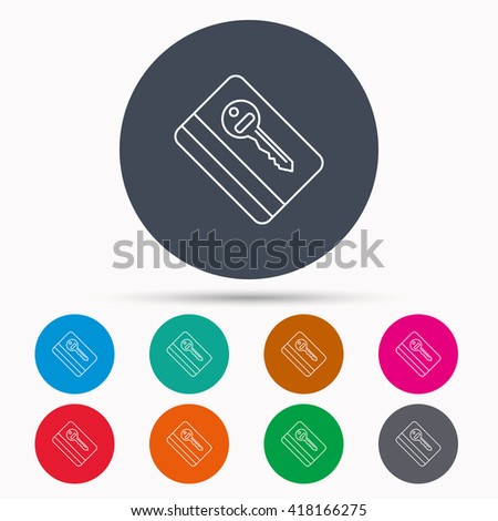 Electronic key icon. Hotel room card sign. Unlock chip symbol. Icons in colour circle buttons. Vector - stock vector