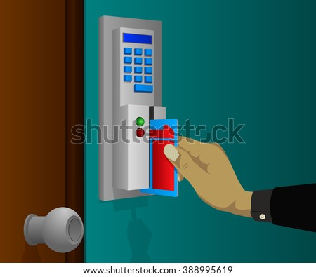Electronic key swipe machine to automatically lock  - stock vector
