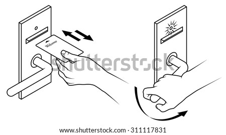 Electronic keycard door opening instructions diagram. Insert and remove card front slot. Two step version. - stock vector