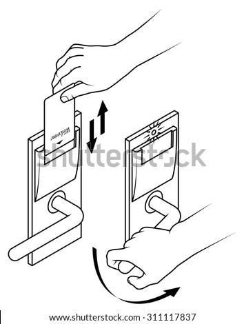 Electronic keycard door opening instructions diagram stock vector electronic keycard door opening instructions diagram insert and remove card top slot two step ccuart Gallery
