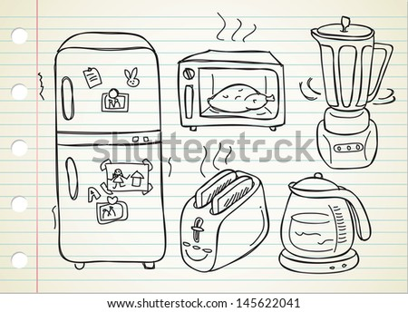 electronic kitchen stuff - stock vector