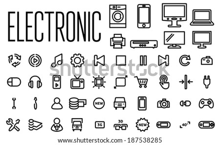 Electronic line icons set - stock vector