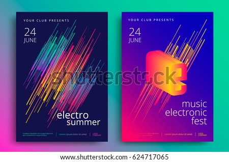 Electronic music fest and electro summer poster. Modern club party flyer. Abstract gradients music background.