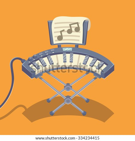 Electronic musical keyboard. Vector illustration. - stock vector
