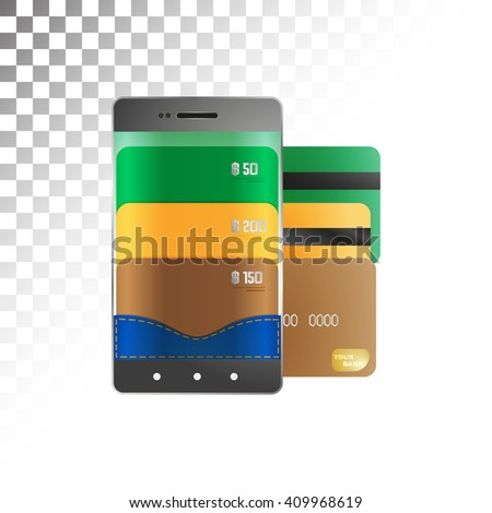 Electronic payments and transfers via smartphone. - stock vector