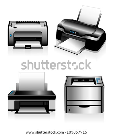 Electronic printing technology Laser Printers and Ink Jets - stock vector