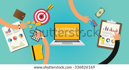 electronic procurement concept with money and internet buying - stock vector