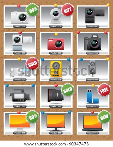 electronic product gallery - stock vector