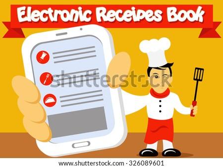 Electronic Recipes Book - stock vector