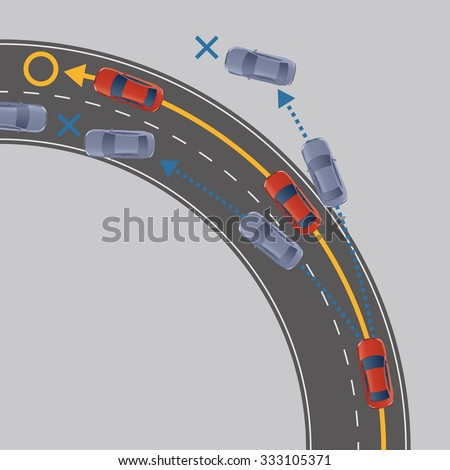 Electronic Stability Control (ESC) of motor vehicle, image illustration - stock vector