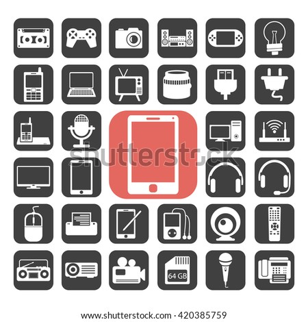 Electronic symbol icons set.Vector illustration