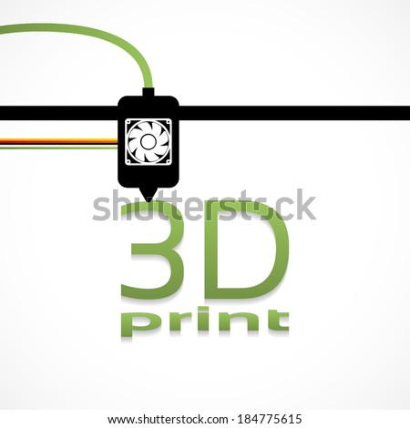Electronic three dimensional plastic printer during work 3D printer, 3D printing - stock vector