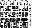 electronic vector 2 (mp3 player, mobile phone, headphone, webcam, digital camera, speaker) - stock vector