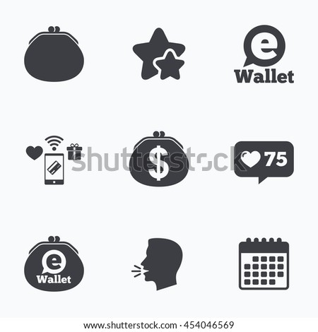 Electronic wallet icons. Dollar cash bag sign. eWallet symbol. Flat talking head, calendar icons. Stars, like counter icons. Vector - stock vector