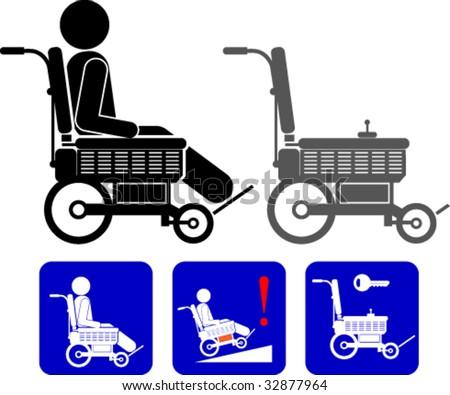 Electronic wheelchair symbols - stock vector
