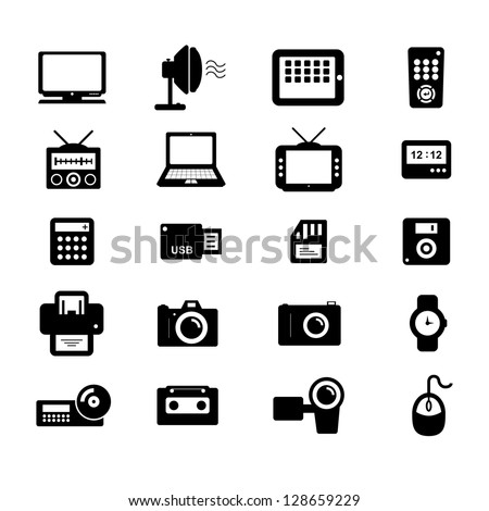 Electronics and Accessories Icon set Black and White - stock vector