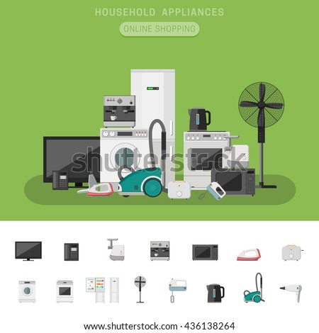 Electronics Banner Icons Microwave Coffee Machine Stock Vector 436138264 Shutterstock