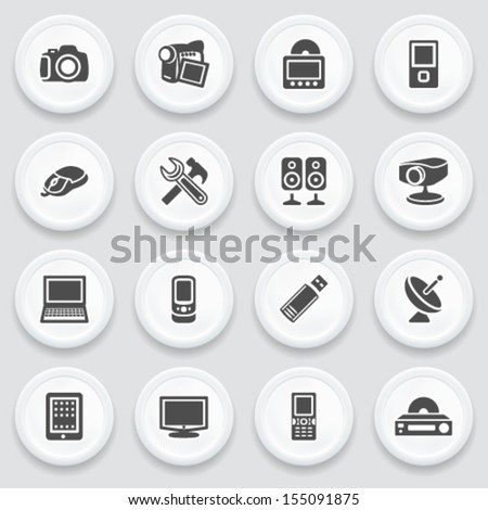 Electronics black icons on with buttons. - stock vector