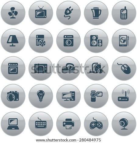Electronics button set - stock vector