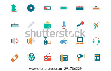 Electronics Colored Vector Icons - stock vector