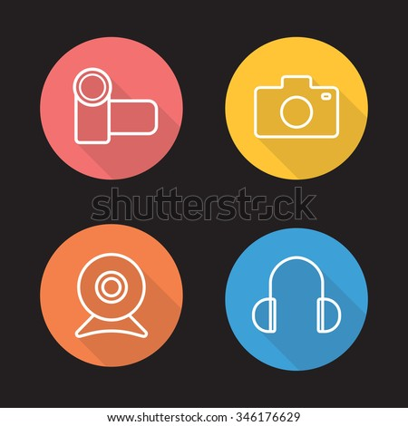 Electronics devices flat linear icons set. Video and photo camera. Webcam and earphones. Audio and optical digital accessories. Long shadow outline logo concepts. Vector line art illustrations - stock vector