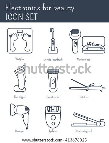 Electronics for beauty, icon set - stock vector