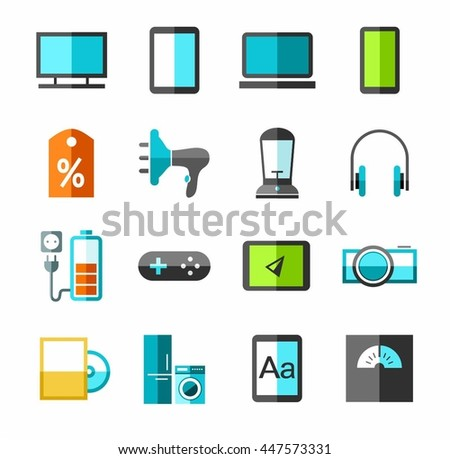 Electronics, gadgets and appliances color icons. Vector icons, technical innovations and electronic devices. Colored, flat pictures on a white background.