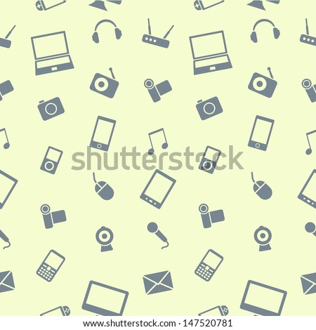Electronics gadgets vector seamless pattern. Use this pattern to be printed on paper or cloth, as well as for wallpaper and web design. - stock vector