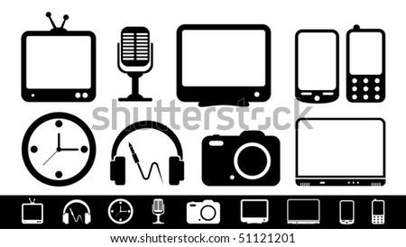 Electronics icon set - stock vector
