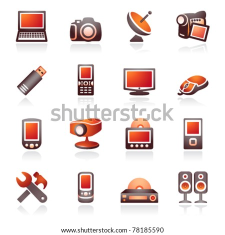 Electronics icons for web. Black and red series. - stock vector