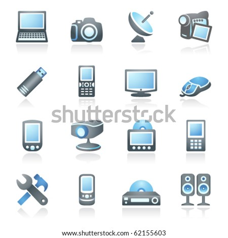 Electronics icons for web.  Gray and blue series. - stock vector