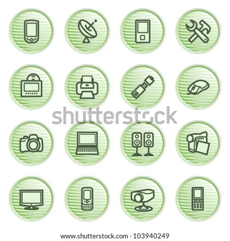 Electronics icons for web. Green series. - stock vector