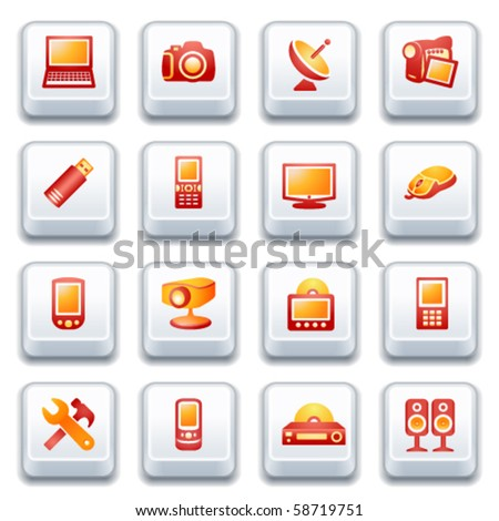 Electronics icons for web. Red and yellow series. - stock vector