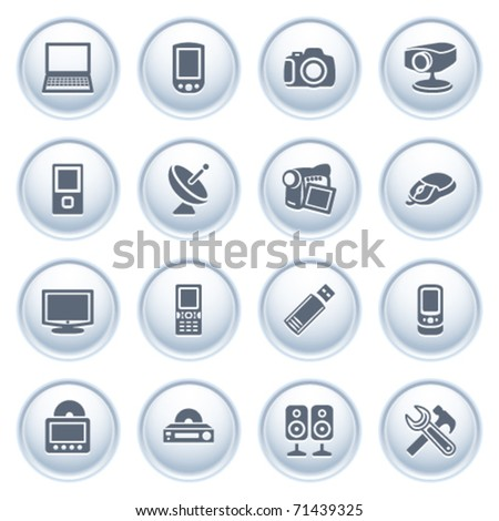 Electronics icons on buttons. - stock vector