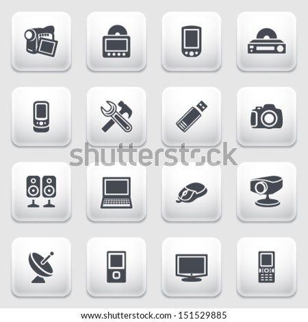 Electronics icons on gray background. - stock vector