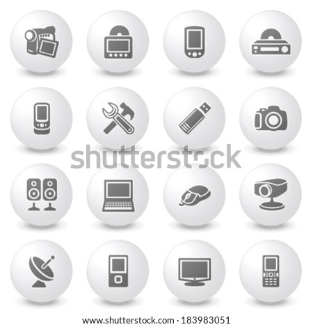 Electronics icons on gray buttons. - stock vector