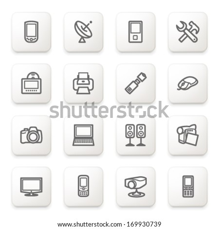 Electronics icons on white buttons. - stock vector