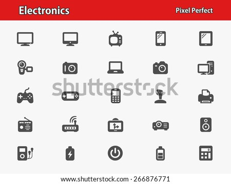 Electronics Icons. Professional, pixel perfect icons optimized for both large and small resolutions. EPS 8 format. - stock vector