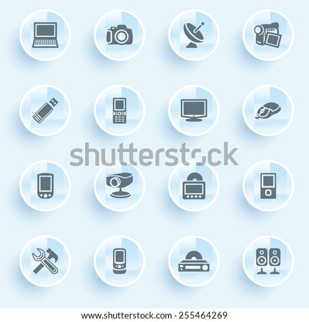 Electronics icons with buttons on blue background. - stock vector