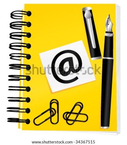 Electronics notebook contact and blog concept. Vector illustration. - stock vector
