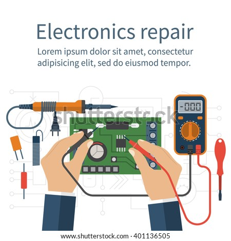 Electronics repair. Tester checking. Multimeter in hands of man. Calibration, diagnostics, maintenance, electronics repair and computer electronics. Vector flat design style. Service center, workshop. - stock vector