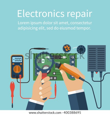 Electronics repair.  Vector flat design style. - stock vector