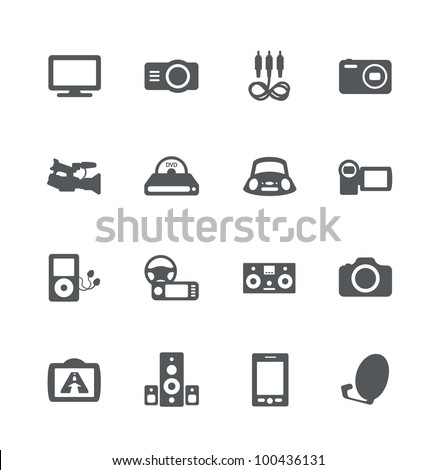 Electronics simple minimalistic icons set - stock vector
