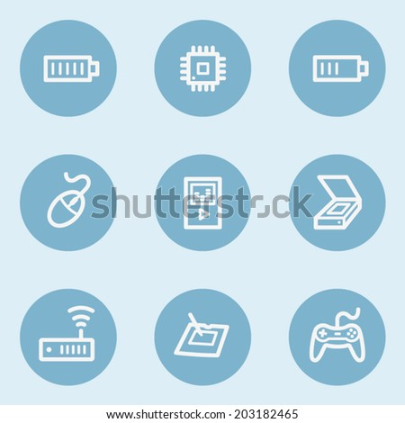 Electronics web icon set 2,  blue buttons - stock vector
