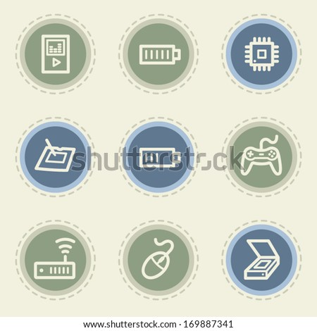 Electronics web icon set 2, vintage buttons - stock vector