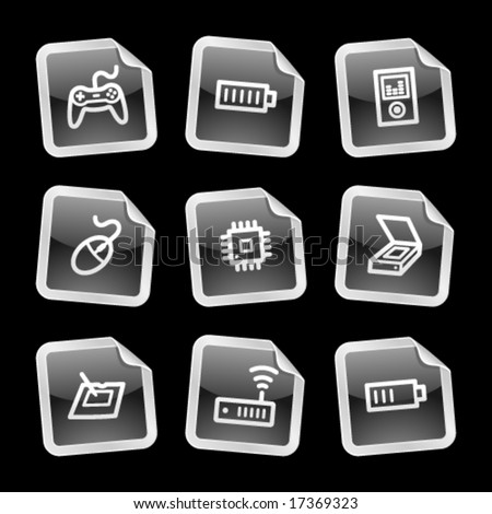 Electronics 2 web icons, black glossy sticker series - stock vector