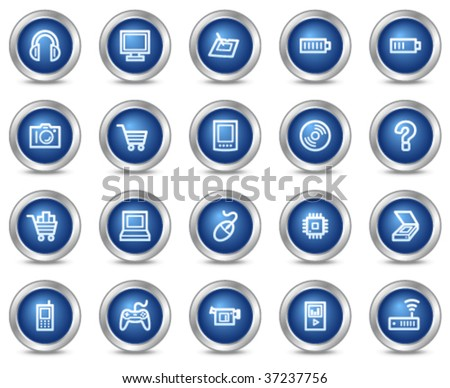 Electronics web icons, blue circle buttons series - stock vector