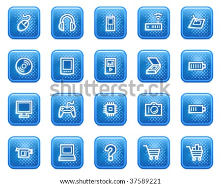 Electronics web icons, blue square buttons with dots - stock vector